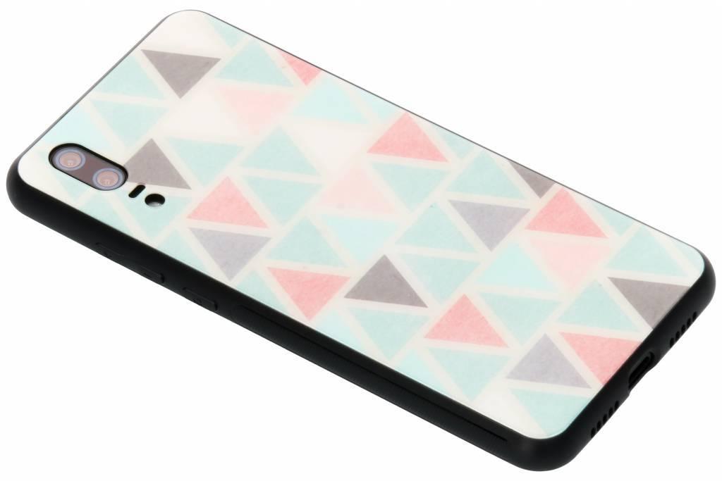 Grafisch driehoekjes design glazen hardcase voor de Huawei P20