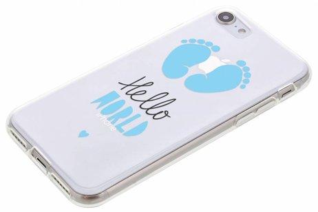 Design Backcover voor iPhone 8 / 7 - Hello World Blauw