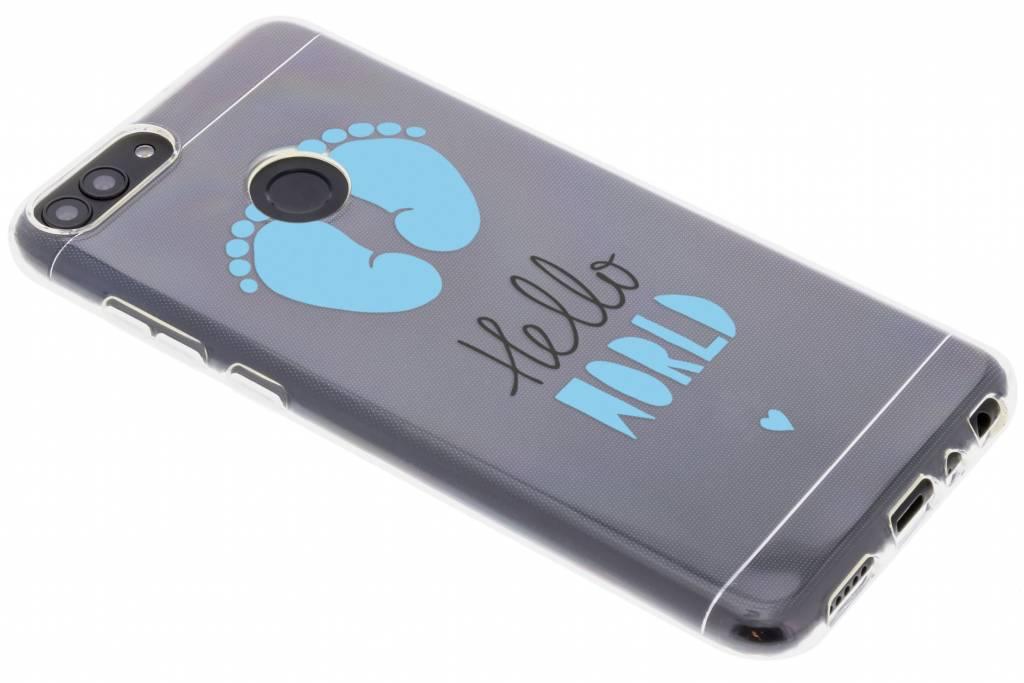 Design Backcover voor Huawei P Smart - Hello World Blauw