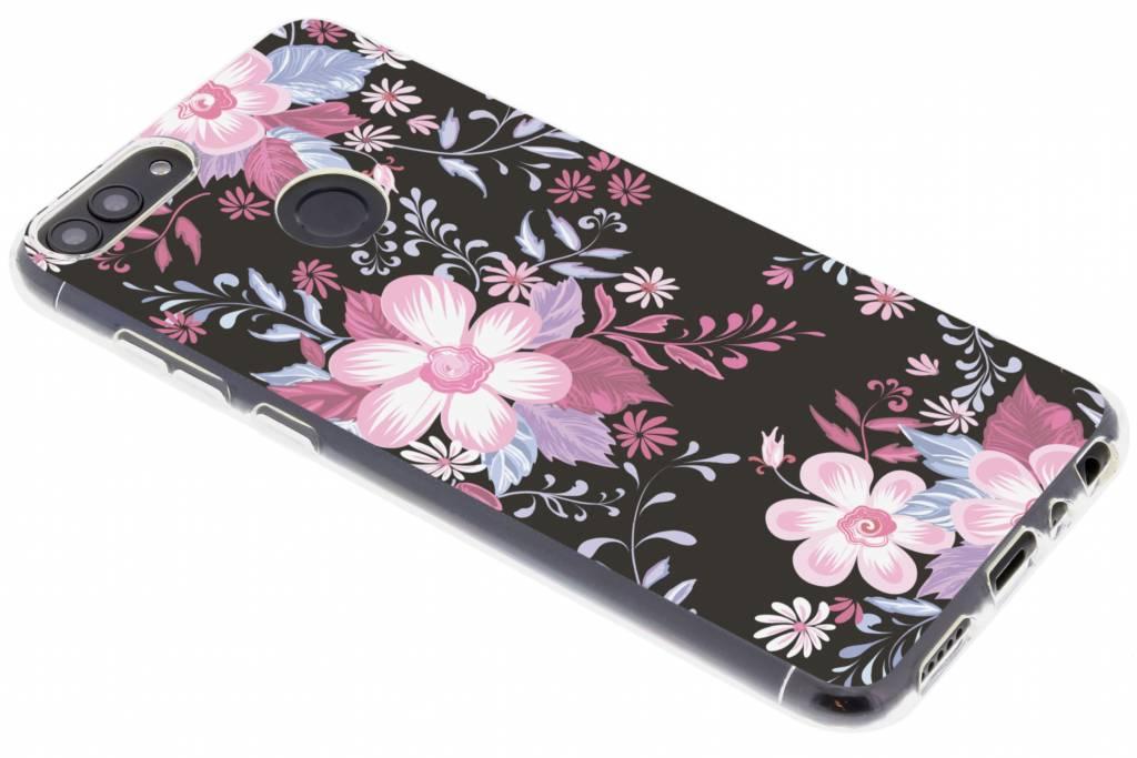 Roze bloemen design siliconen hoesje voor de Huawei P Smart