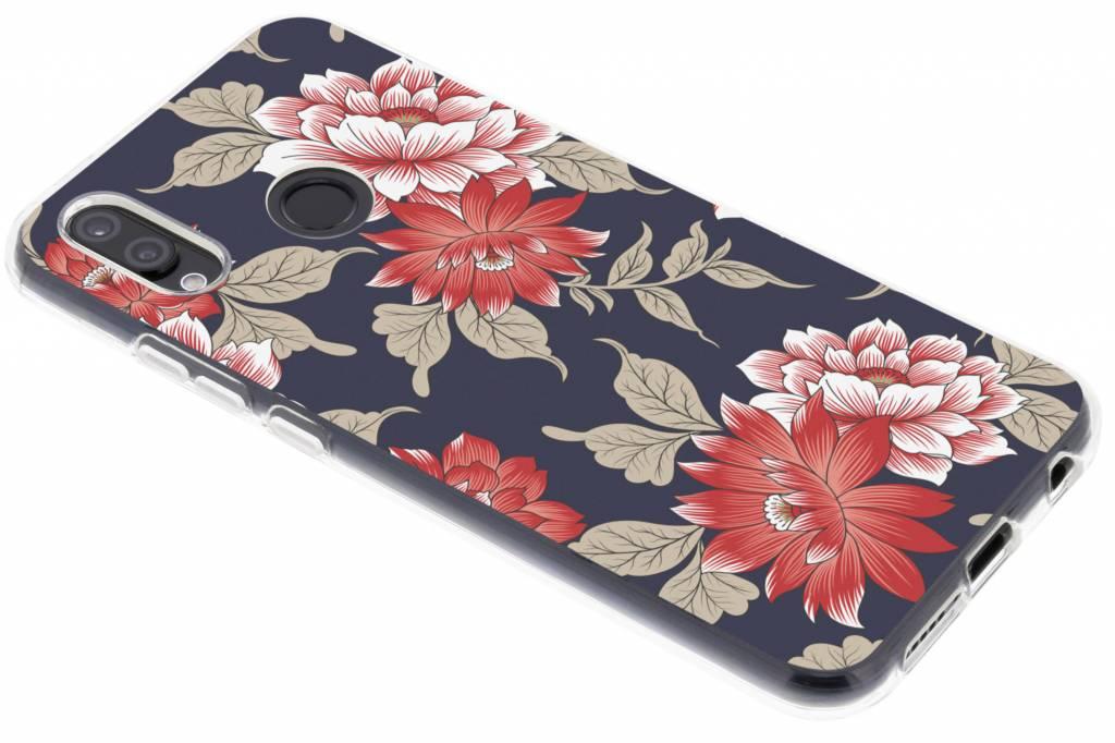 Rode bloemen design siliconen hoesje voor de Huawei P20 Lite