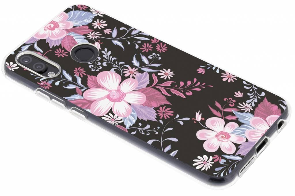 Roze bloemen design siliconen hoesje voor de Huawei P20 Lite