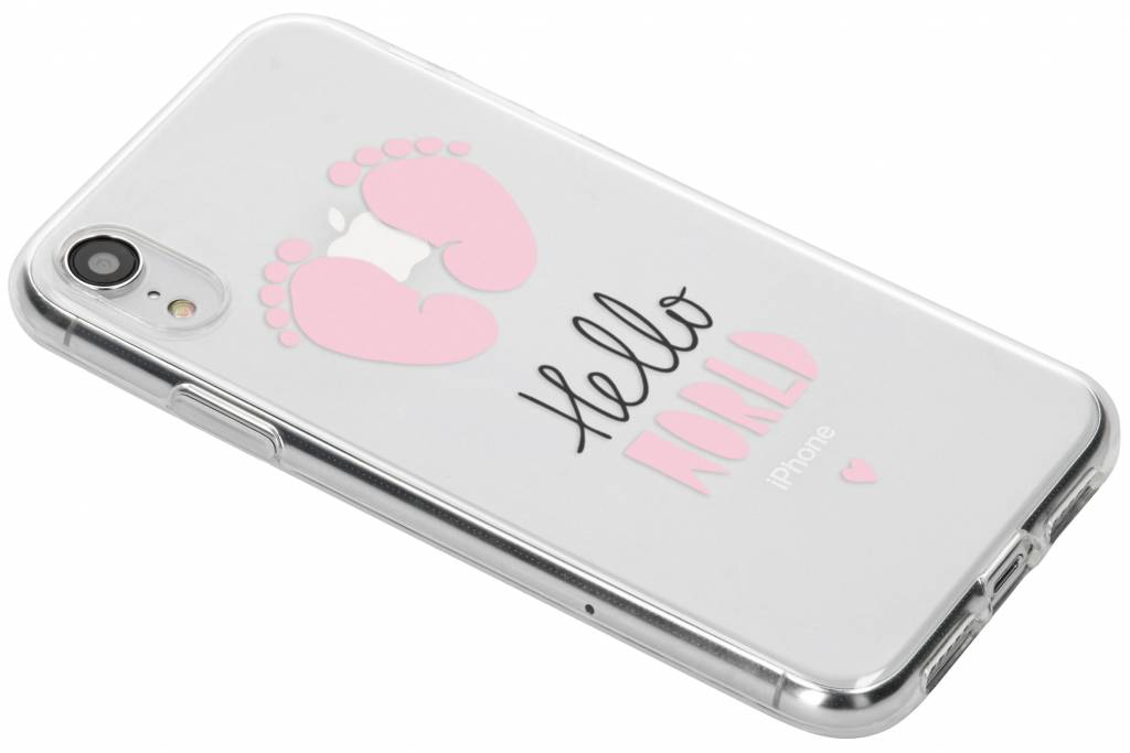 Design Backcover voor iPhone Xr - Hello World Roze