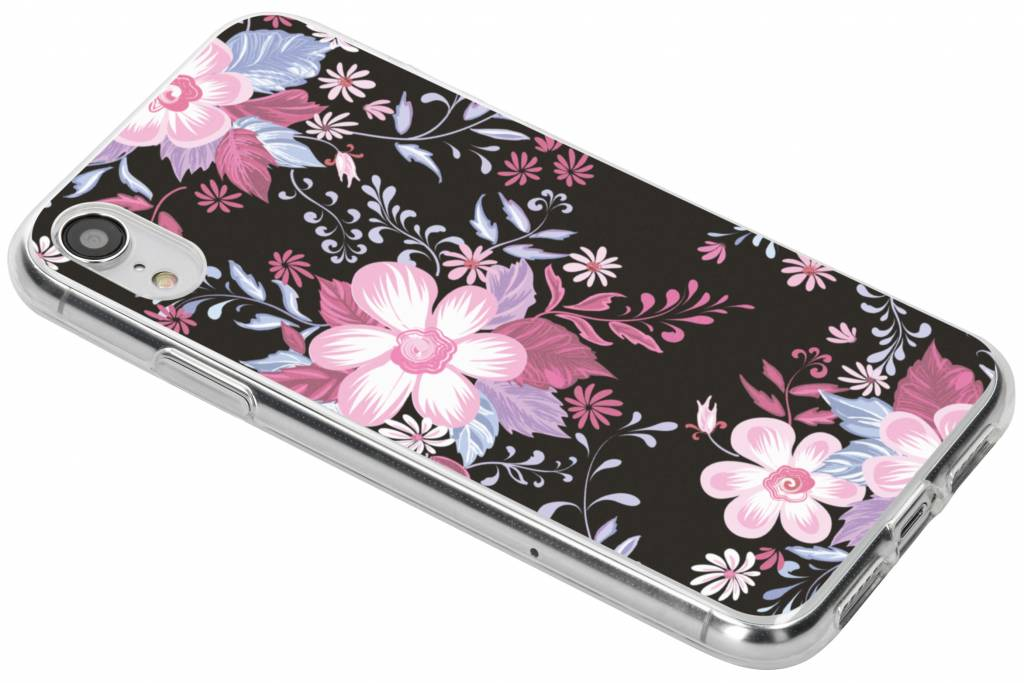 Roze bloemen design siliconen hoesje voor de iPhone Xr
