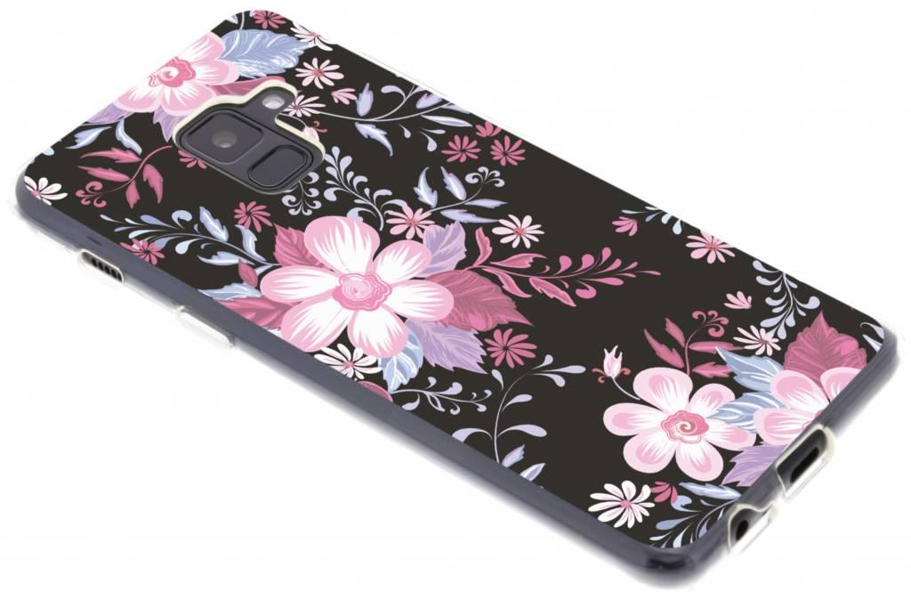 Roze bloemen design siliconen hoesje voor de Samsung Galaxy A8 (2018)