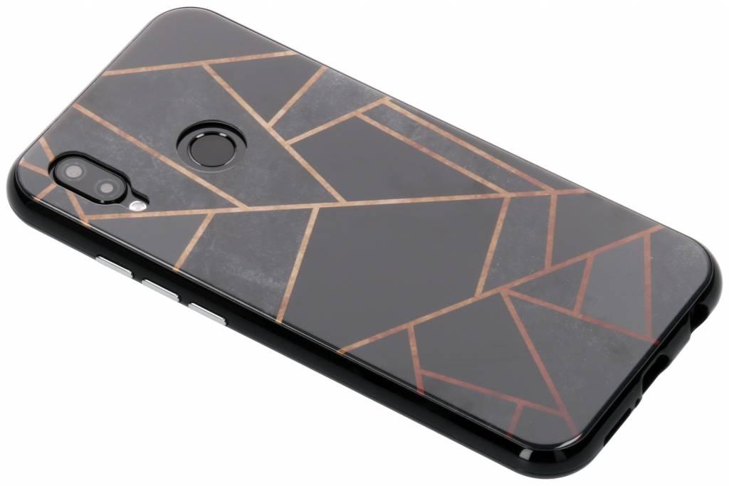 Selencia Zwart grafisch design magnetisch hoesje voor de Huawei P20 Lite