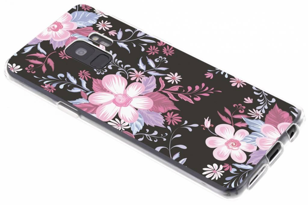 Roze bloemen design siliconen hoesje voor de Samsung Galaxy S9