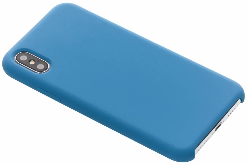 Blauwe soft touch siliconen case voor de iPhone Xs / X