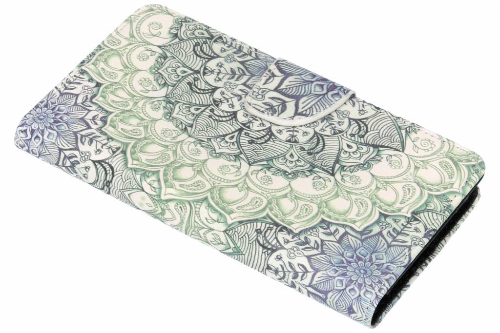 Blauwe mandala design TPU booktype hoes voor de Nokia 6.1