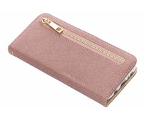 Roze luxe booktype met rits Samsung Galaxy S7 Edge