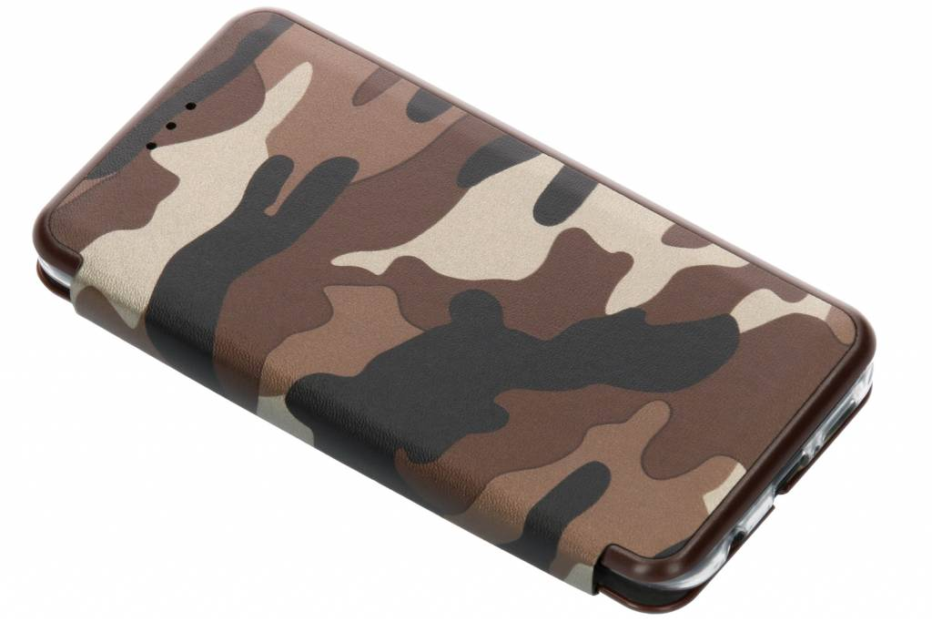 Bruine Army Slim Folio Case voor de Huawei P20 Lite