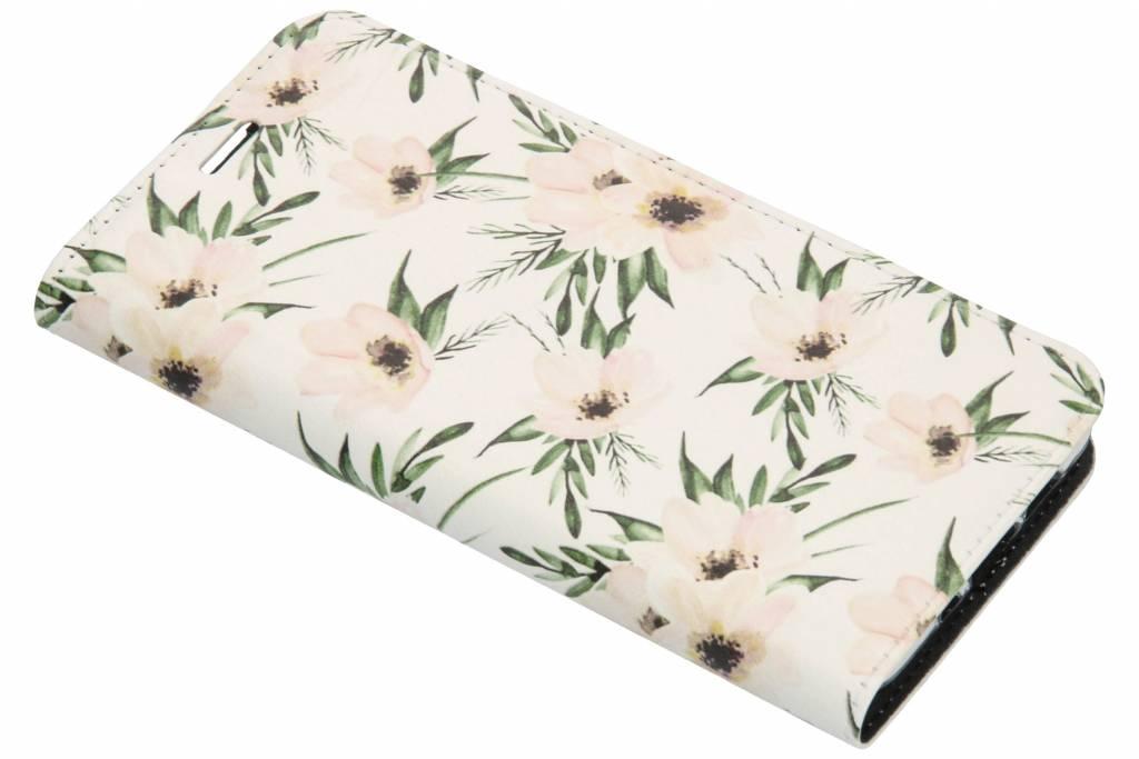 Wit Bloemen Design TPU Bookcase voor de Nokia 3.1