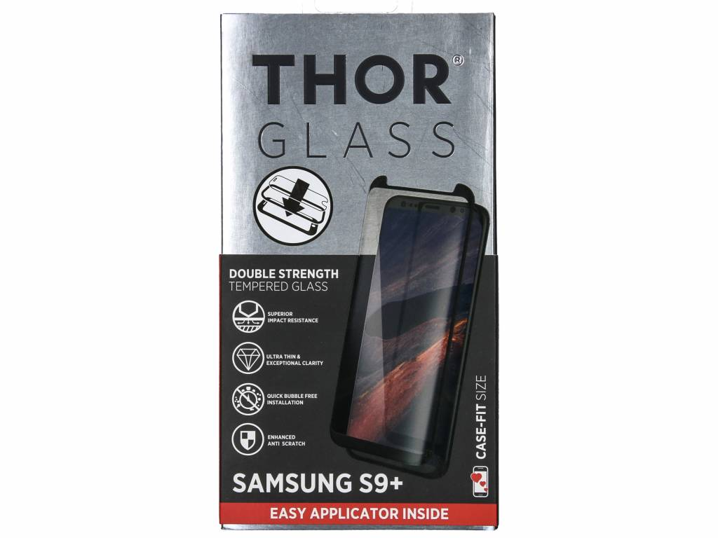Case-Fit Screenprotector + Easy Apply Frame voor de Samsung Galaxy S9 Plus