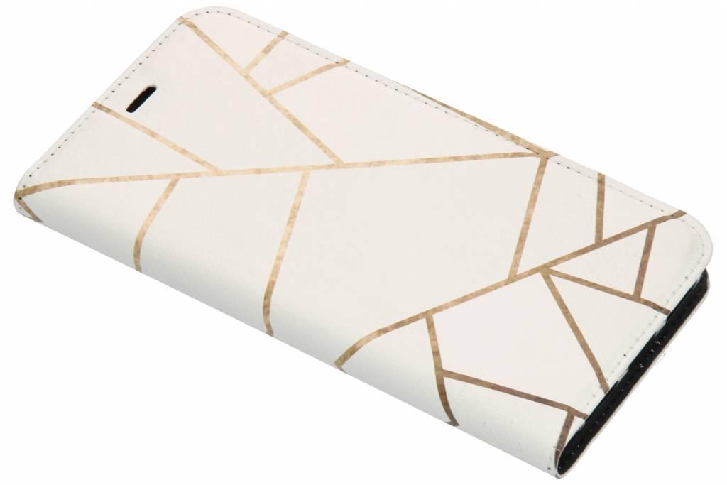 Wit Grafisch Design TPU Bookcase voor de Huawei Y6 (2018)