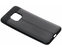 Zwart lederen siliconen case Huawei Mate 20 Pro