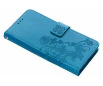 Turquoise klavertje bloemen booktype hoes Huawei Mate 20