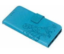 Turquoise klavertje bloemen booktype Huawei P Smart Plus