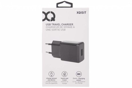 Xqisit Zwarte USB Travel Charger - 2,4 ampère