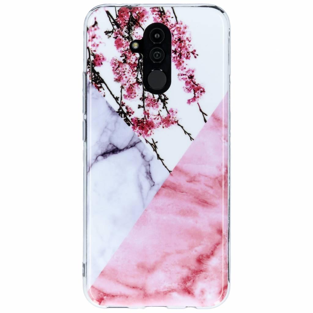 Roze takken marmer design siliconen hoesje voor de Huawei Mate 20 Lite