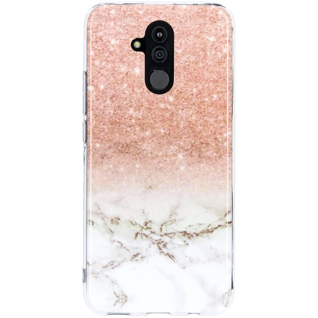 Roze / Wit marmer design siliconen hoesje voor de Huawei Mate 20 Lite