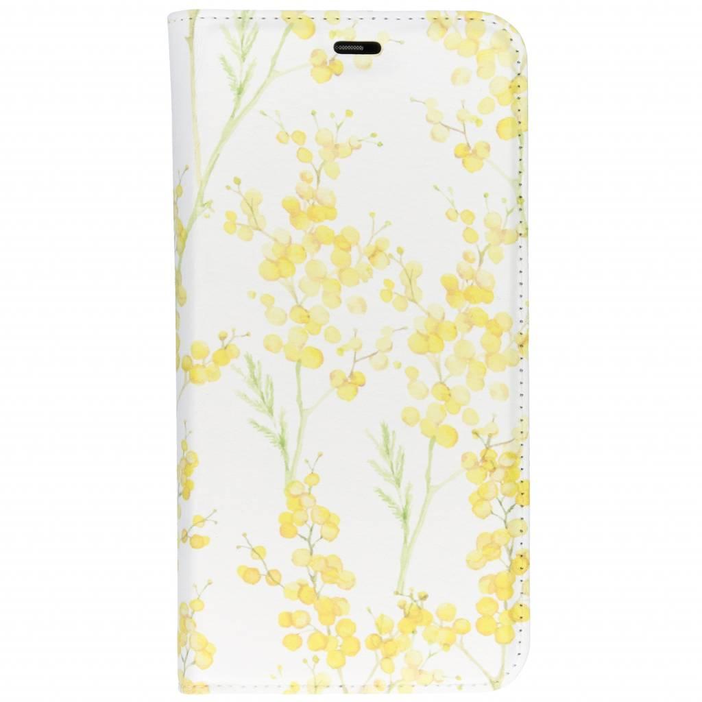 Gele Bloemen Design TPU Bookcase voor de Huawei P Smart