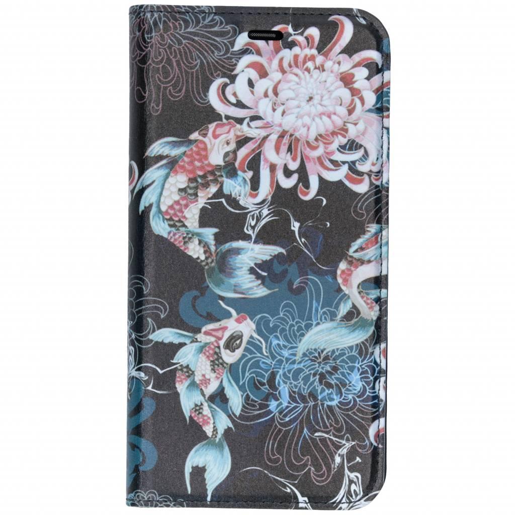 Japanse Bloemen Design TPU Bookcase voor de Huawei P Smart