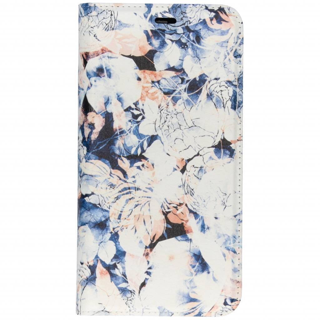 Blauwe Bloemen Design TPU Bookcase voor de Huawei P Smart