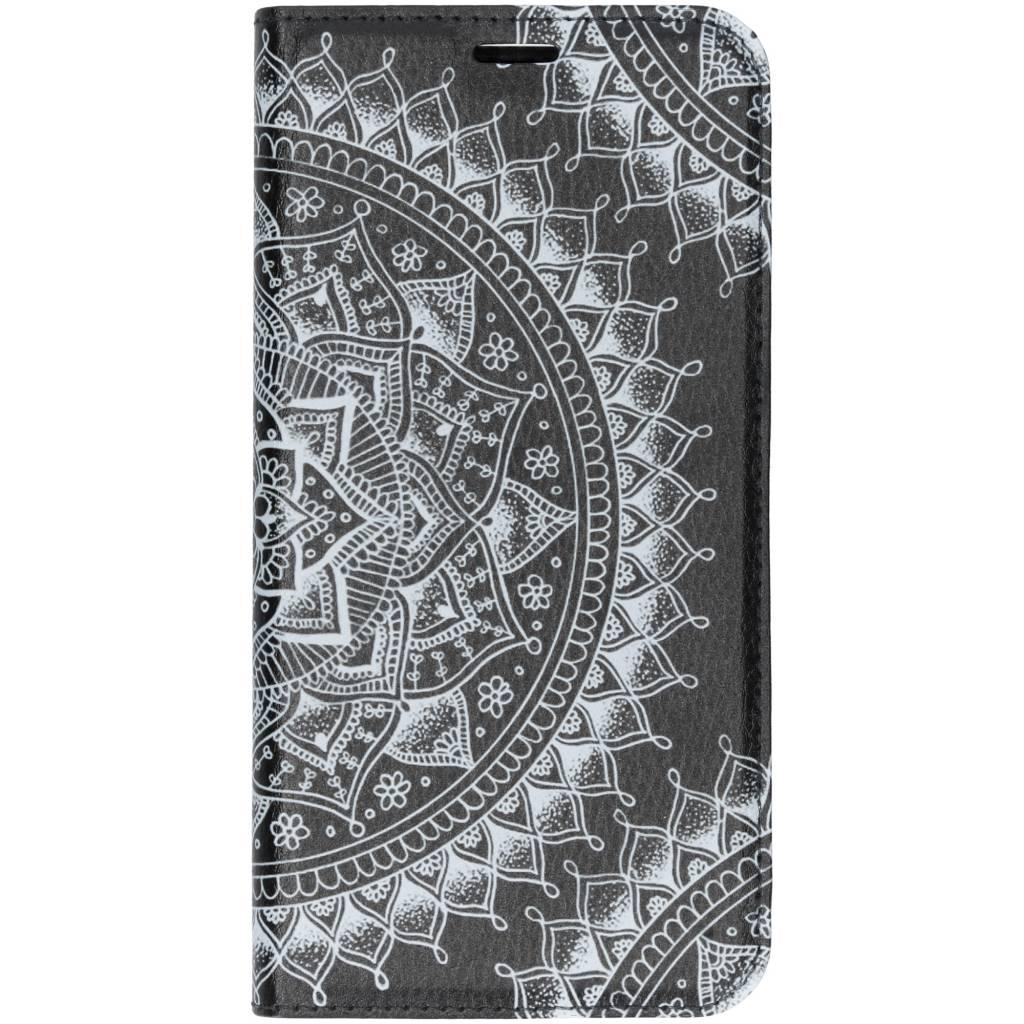 Zwart Mandala Design TPU Bookcase voor de Huawei P Smart Plus