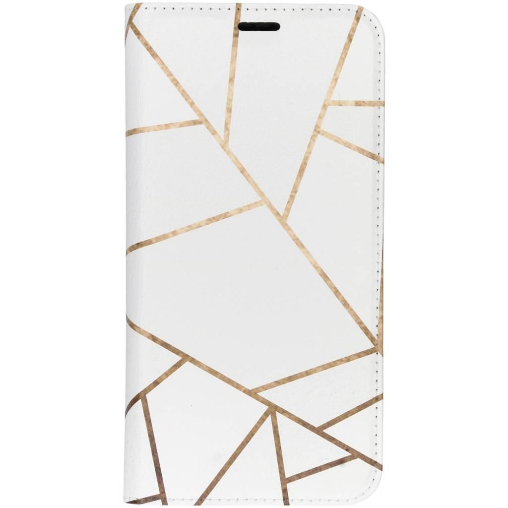Wit Grafisch Design TPU Bookcase voor de Huawei P Smart Plus