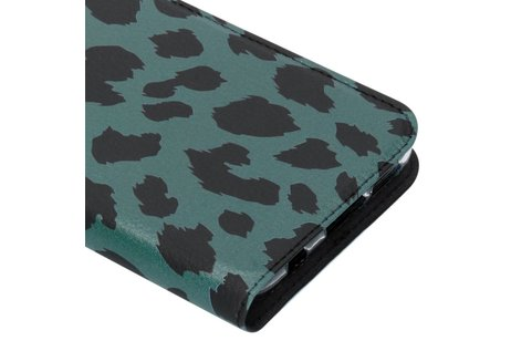 Design Softcase Booktype voor Huawei P Smart Plus - Panter Groen