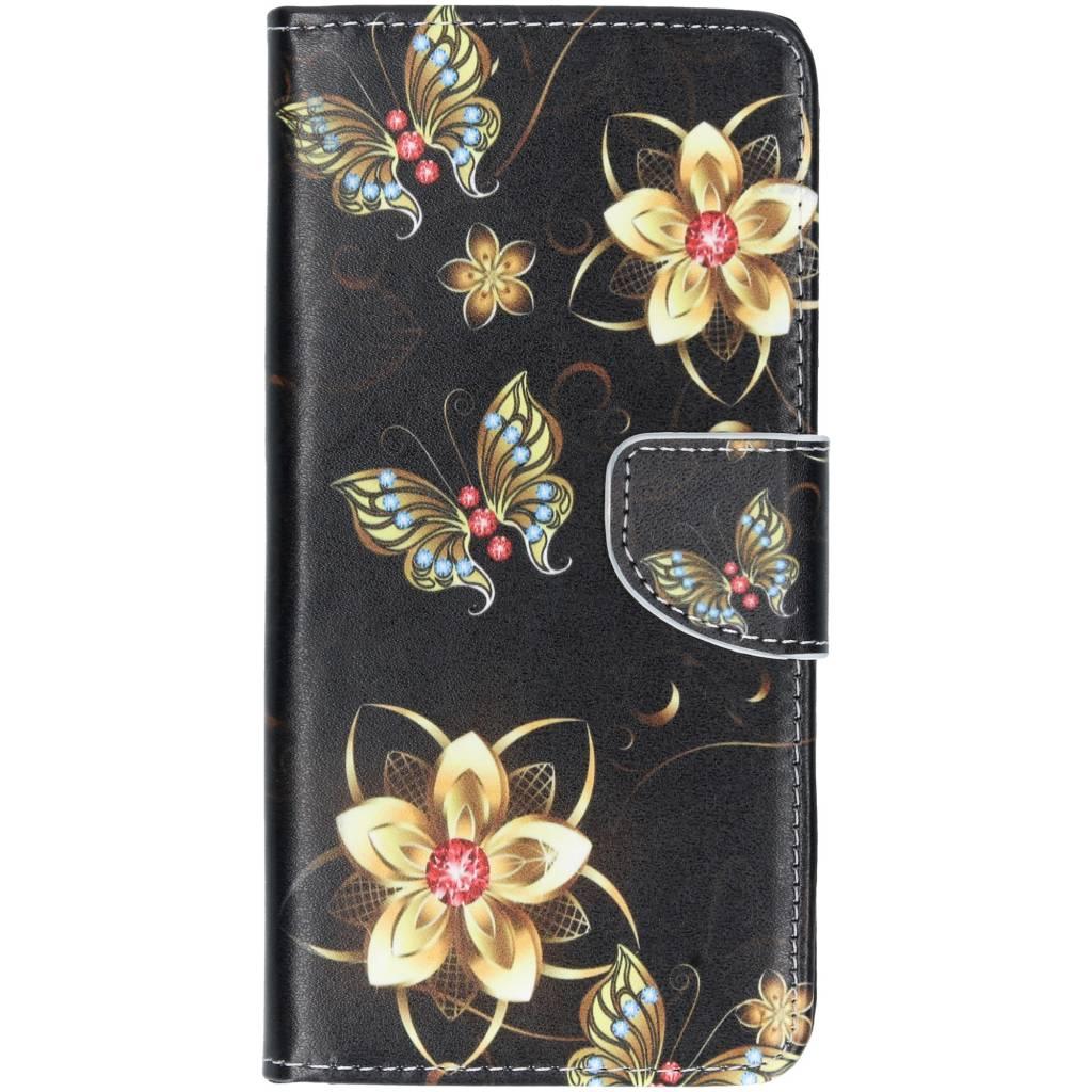 Vlinders met bloemen design TPU booktype hoes voor de Huawei P Smart Plus