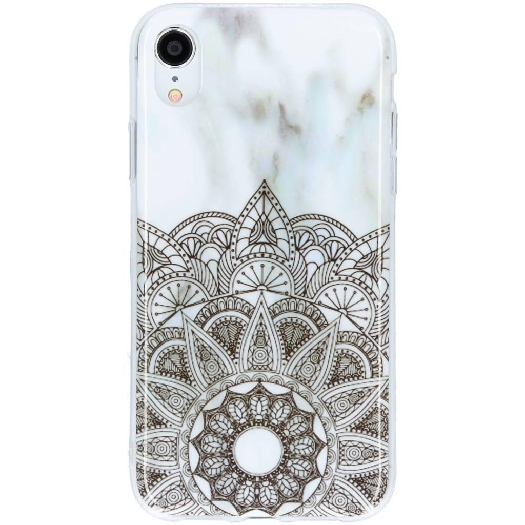 Design Backcover voor iPhone Xr - Mandala Marmer