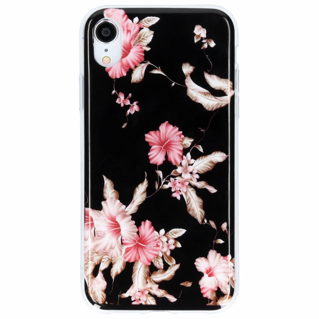 Design Backcover voor iPhone Xr - Roze Bloemen