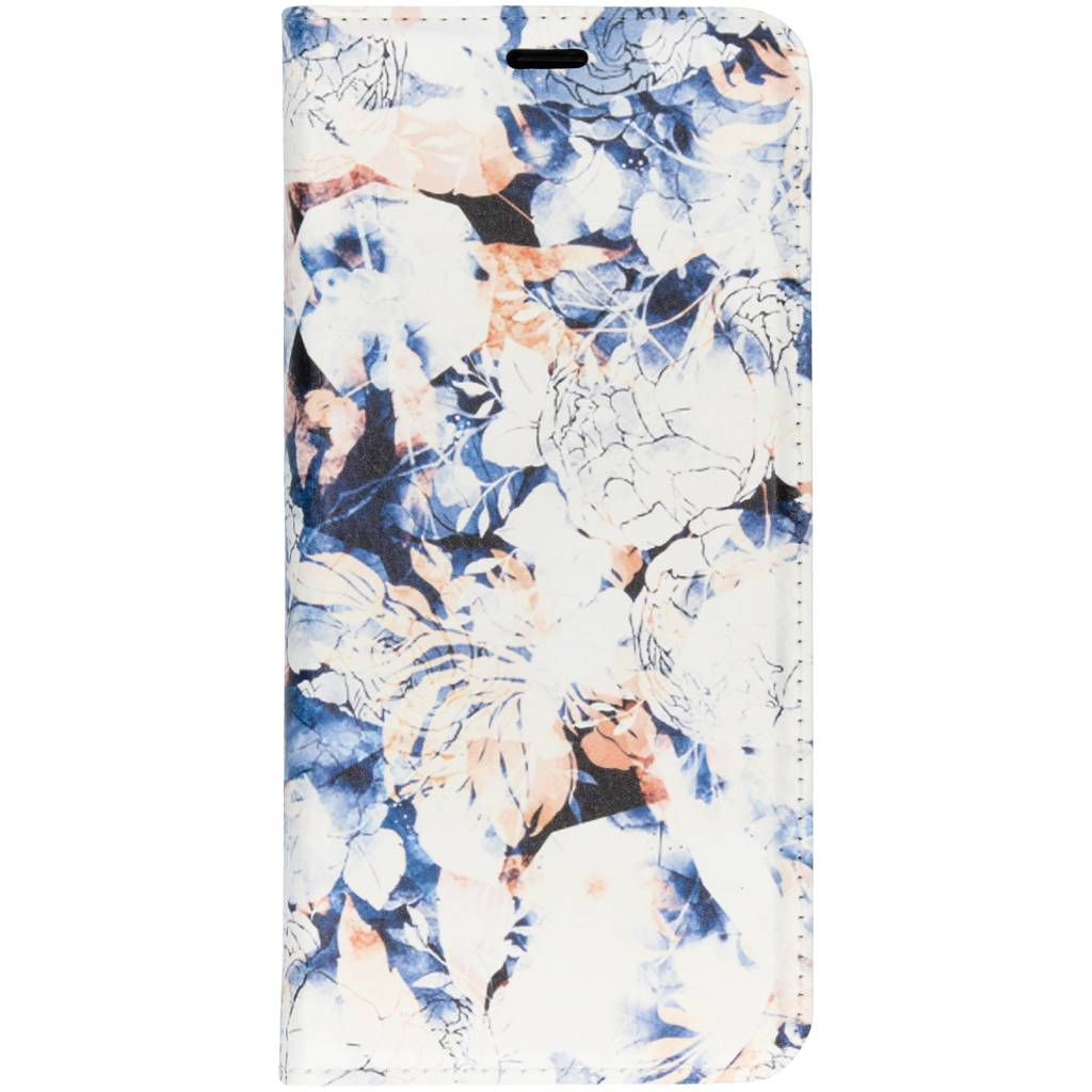 Blauwe Bloemen Design TPU Bookcase voor de Samsung Galaxy S9