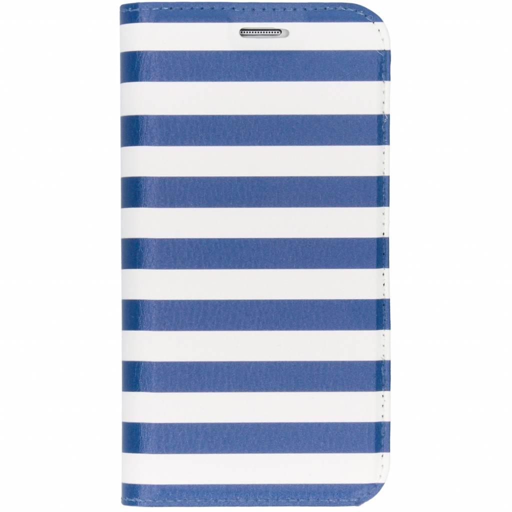 Design Softcase Booktype voor Samsung Galaxy S7 - Stripes Blue
