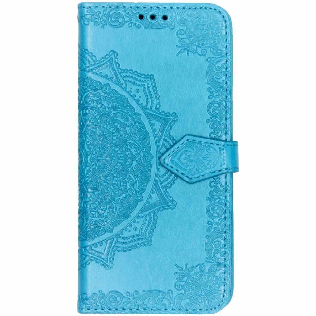 Blauwe mandala booktype hoes voor de Huawei Y6 (2018)