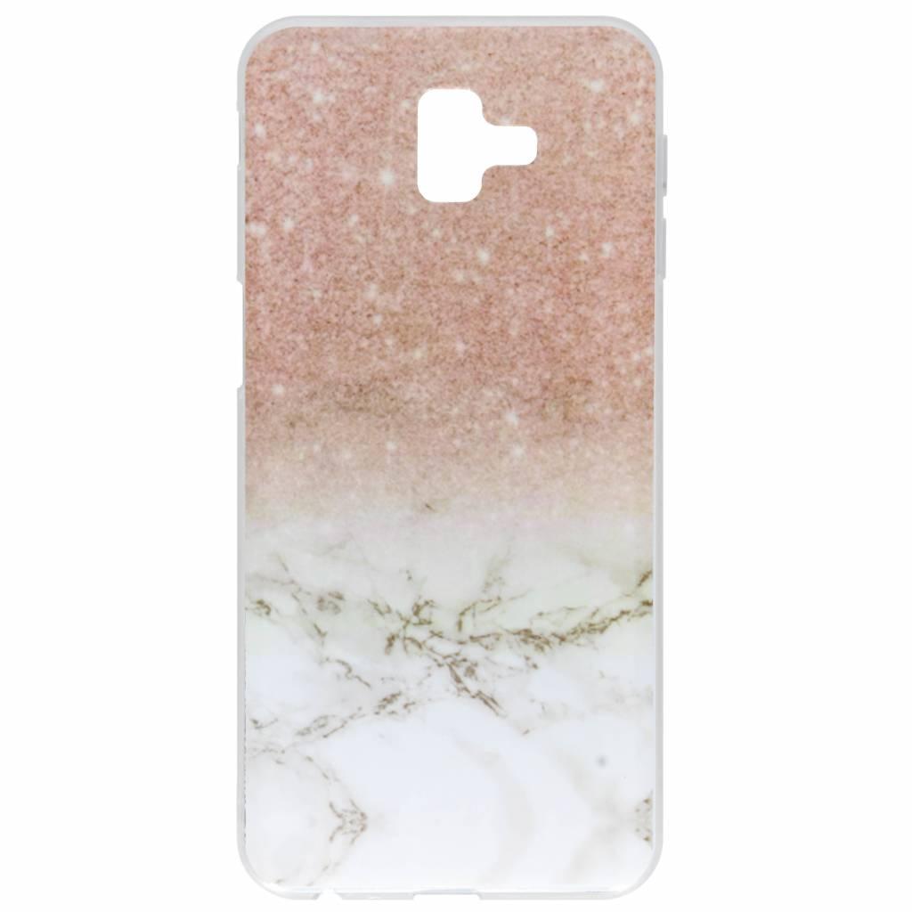 Roze / Wit marmer design siliconen hoesje voor de Samsung Galaxy J6 Plus