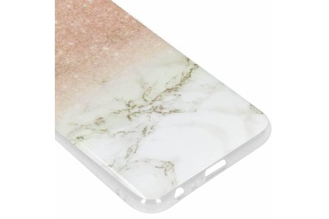 Design Backcover voor Samsung Galaxy J6 Plus - Marmer Roze / Wit