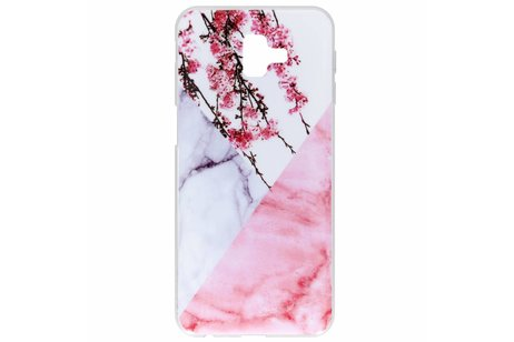 Design Backcover voor Samsung Galaxy J6 Plus - Marmer Roze Bloesem