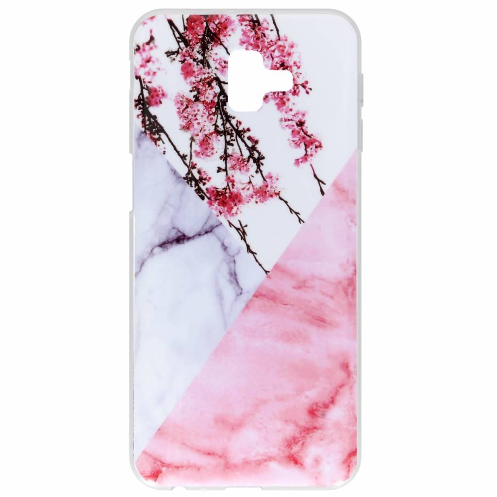 Roze takken marmer design siliconen hoesje voor de Samsung Galaxy J6 Plus