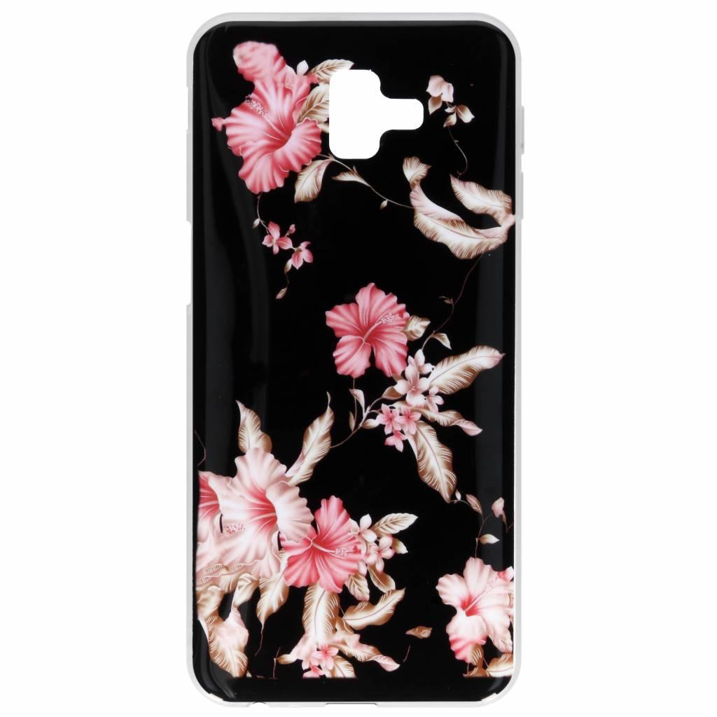 Roze bloemen design siliconen hoesje voor de Samsung Galaxy J6 Plus