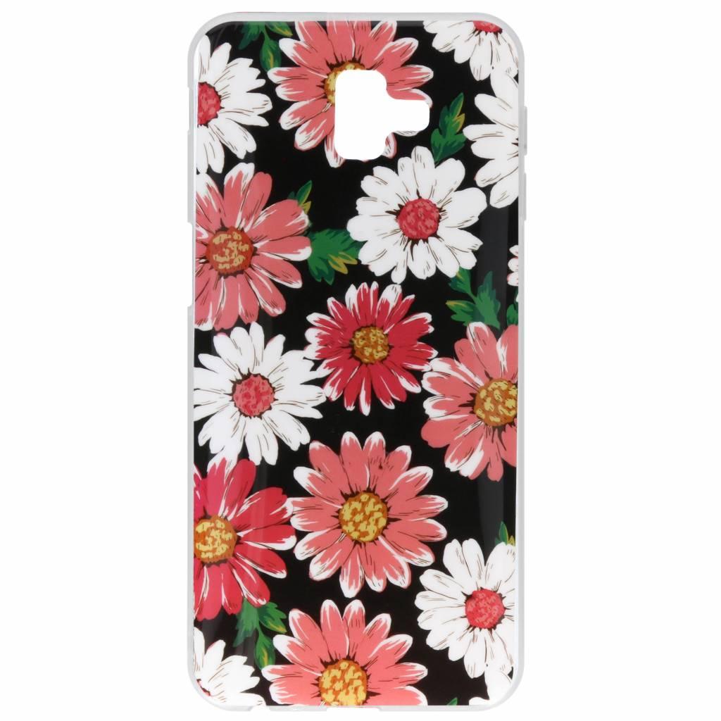 Gekleurde bloemen design siliconen hoesje voor de Samsung Galaxy J6 Plus