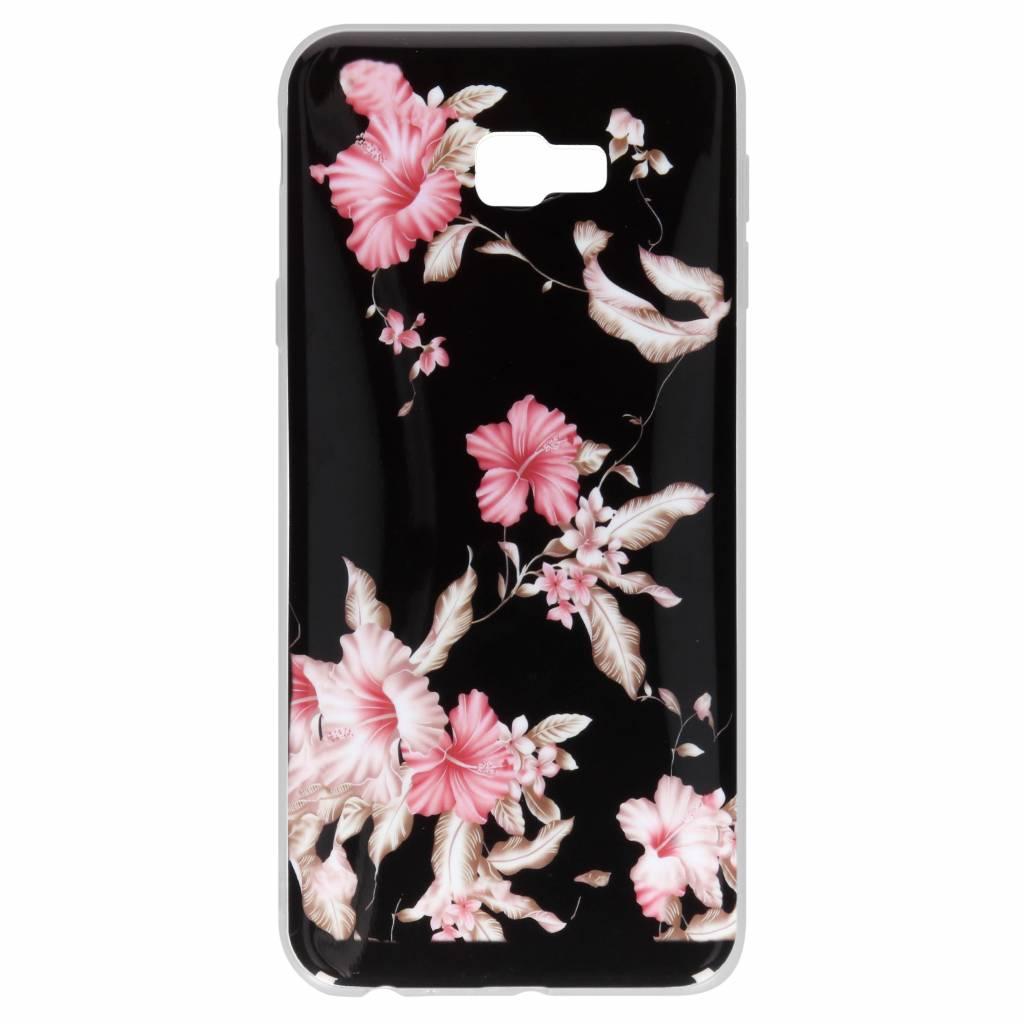 Design Backcover voor Samsung Galaxy J4 Plus - Roze Bloemen