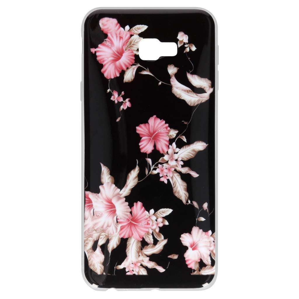 Roze bloemen design siliconen hoesje voor de Samsung Galaxy J4 Plus