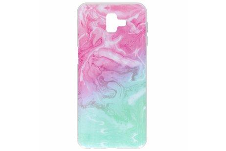 Design Backcover voor Samsung Galaxy J6 Plus - Gradient Roze / Groen