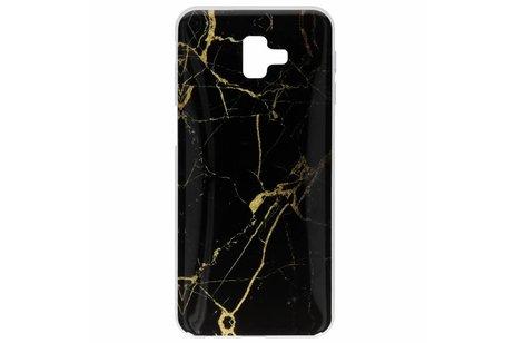 Design Backcover voor Samsung Galaxy J6 Plus - Marmer Zwart / Goud