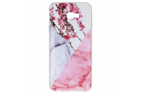Design Backcover voor Samsung Galaxy J4 Plus - Marmer Roze Bloesem