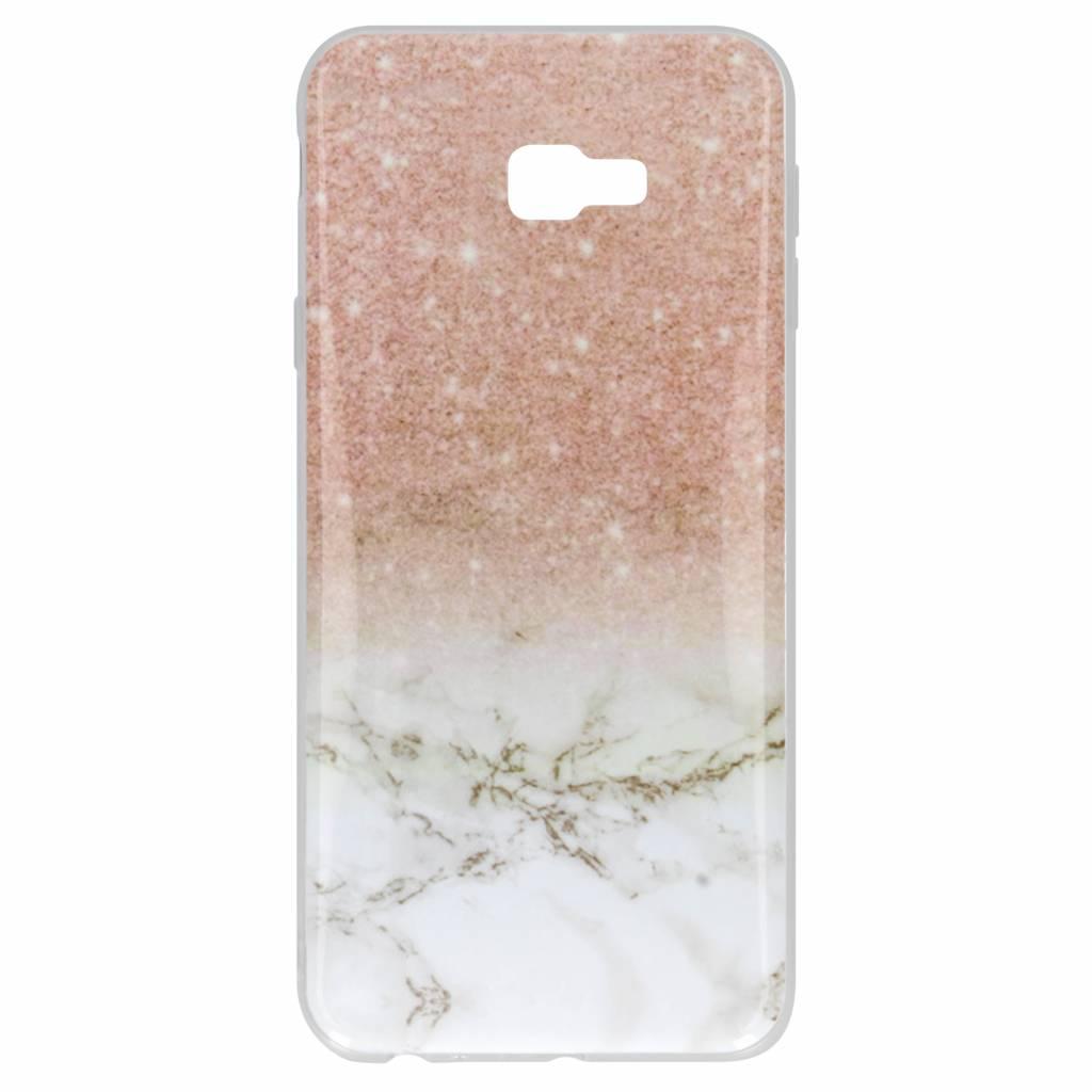 Roze / Wit marmer design siliconen hoesje voor de Samsung Galaxy J4 Plus