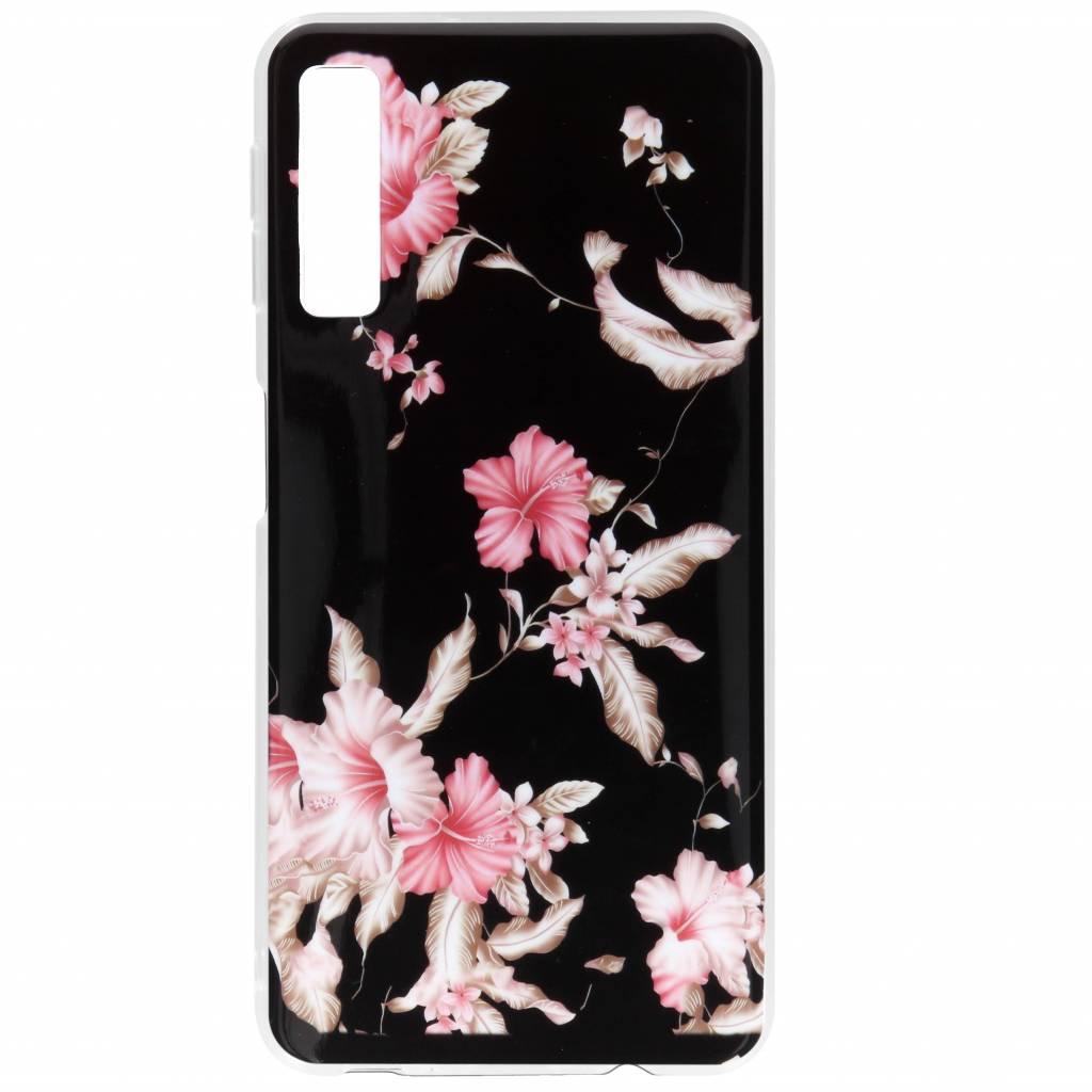 Roze bloemen design siliconen hoesje voor de Samsung Galaxy A7 (2018)
