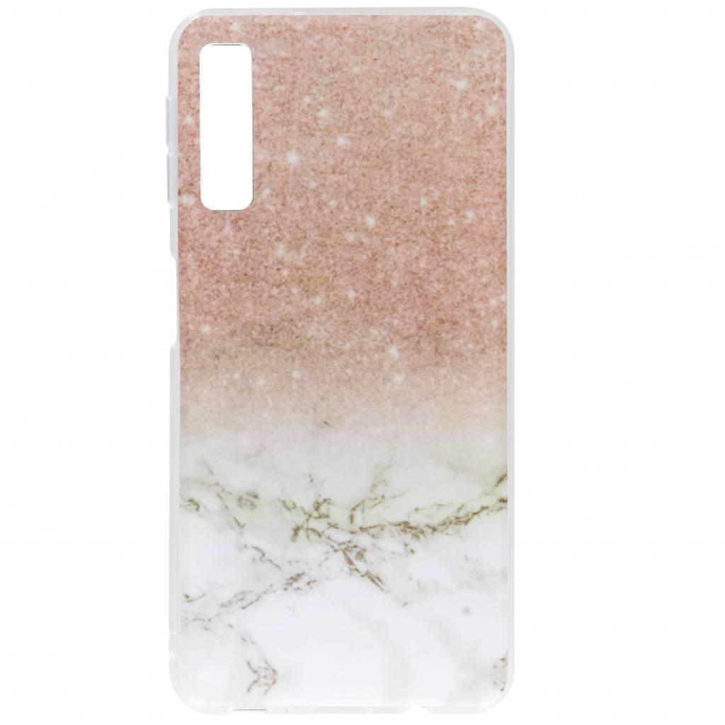 Roze / Wit marmer design siliconen hoesje voor de Samsung Galaxy A7 (2018)